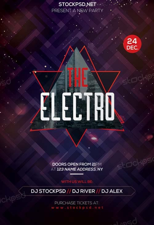 Download the best Free Electro Flyer PSD Templates for Photoshop - electro flyer