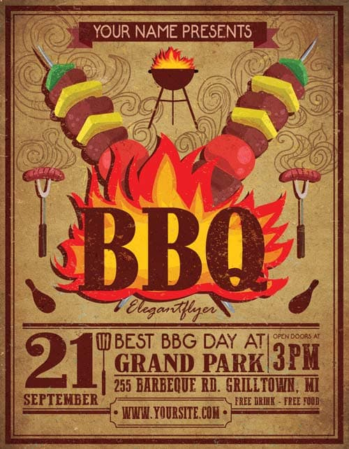 Vintage BBQ Free Party Flyer Template - Download Free Flyer Templates