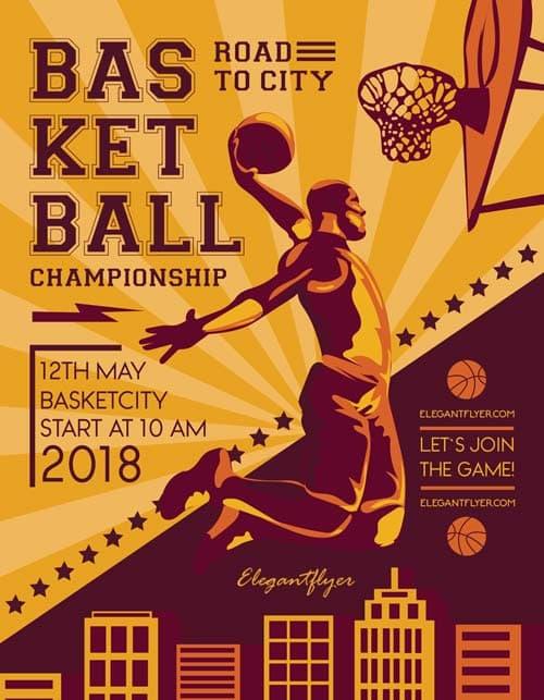 FreePSDFlyer Basketball Match Free Sport Flyer Template - Download