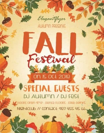 Download the best Free Autumn  Fall Flyer PSD Templates