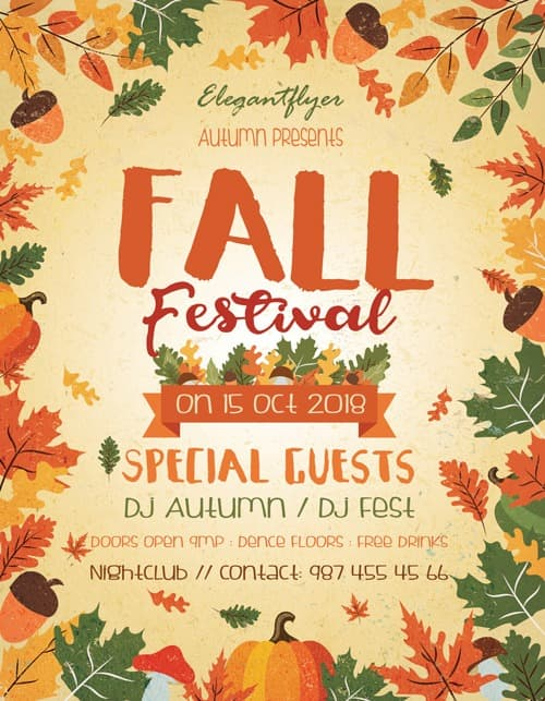 Fall Festival Free Autumn Flyer Template - Download Flyer FreePSDFlyer