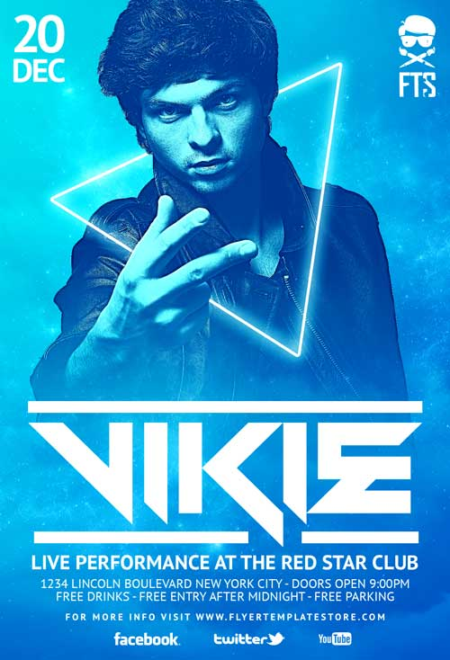 DJ Vikie Free PSD Flyer Template - Download Free Electro DJ Flyer