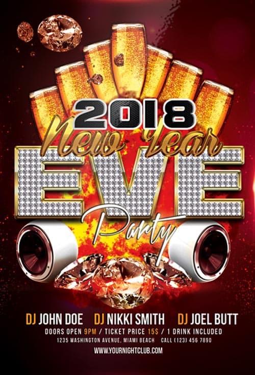 FreePSDFlyer Happy New Year 2018 Party Free Flyer Template for NYE - free new years eve flyer template