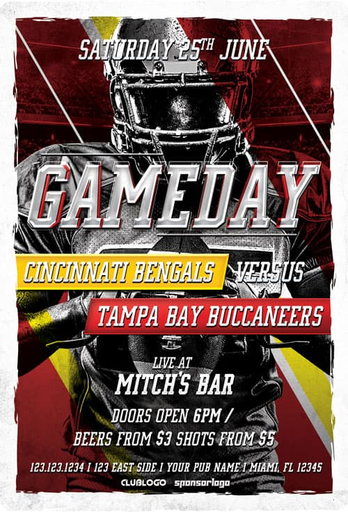 Download Football Game Day Free Flyer Template for Sport Events
