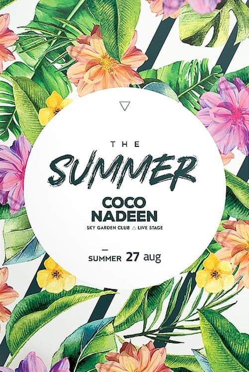 Download the Exotic Summer Party Free Flyer Template for Summer Parties