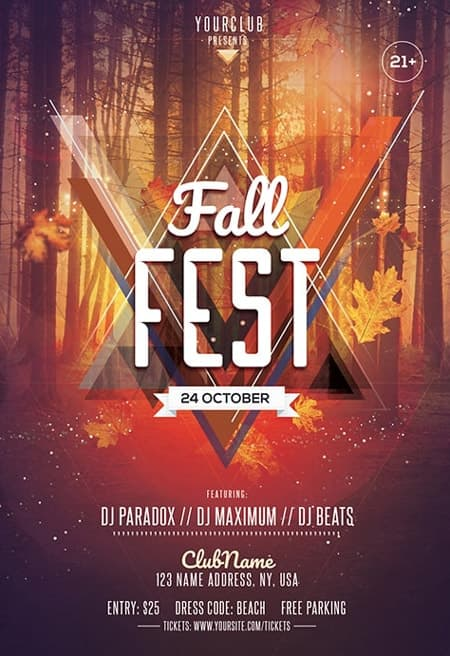 Fall Fest Party Free Flyer Template for Autmn and Fall Party Events
