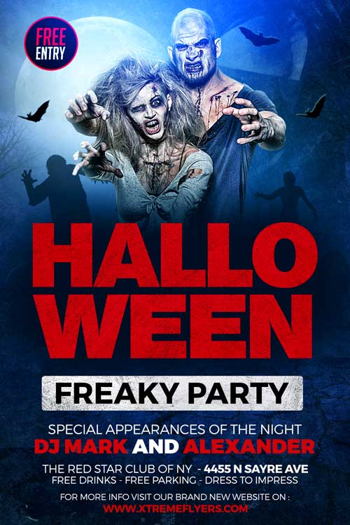 Free Halloween Party Event Flyer Template for Halloween Costume Parties