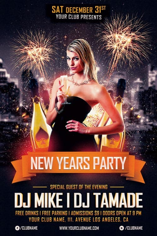 New Years Party Free Flyer Template for New Year Celebrations