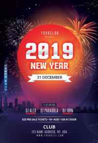 Happy New Year 2019 Free PSD Flyer Template for New Year ...