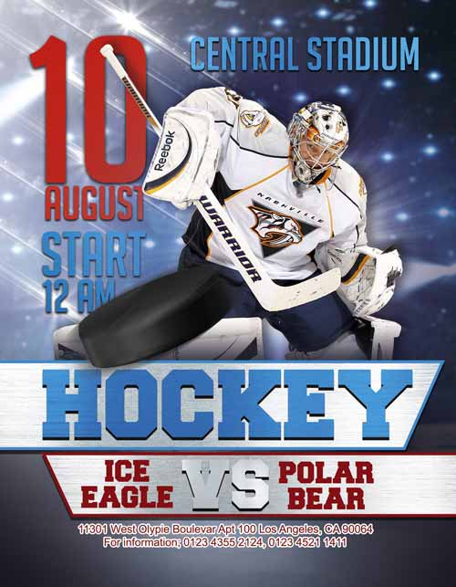 Free Ice Hockey Flyer Template for Ice Hockey Games and Tournaments