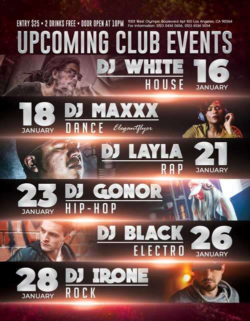 Upcoming Club Events Free PSD Flyer Template - Download PSD Flyer