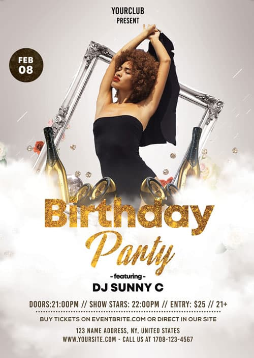 White and Gold Birthday Party Free Flyer Template FreePSDFlyer