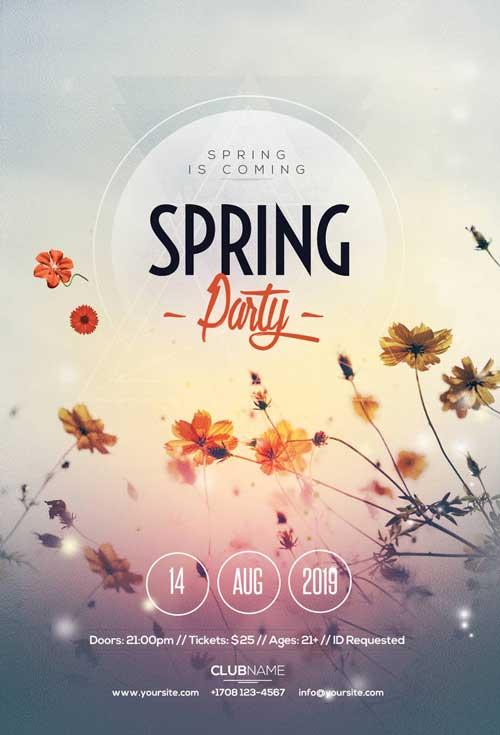 Free Spring Break Electro Party Flyer Template - Freebie FreePSDFlyer
