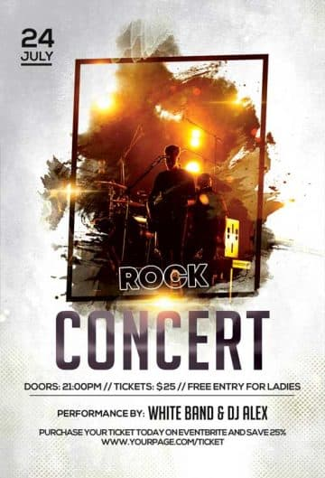 Download Free Indie Rock Flyer PSD Templates for Photoshop!