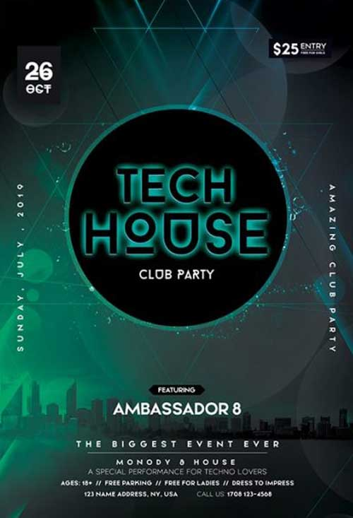 Tech House Free Electro Flyer Template - Free Flyer FreePSDFlyer
