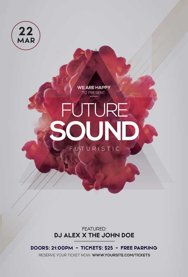 Future Sound Party Free Electro Flyer Template - Freebie FreePSDFlyer
