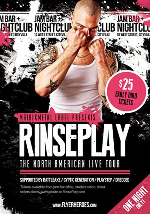 Download the Rinseplay Free Rock Band Flyer Template FreePSDFlyer