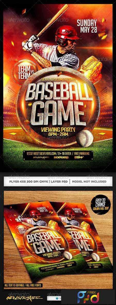 1703102 Baseball Flyer Template PSD 7172103 \u2022 FreePSDvn - Baseball Flyer