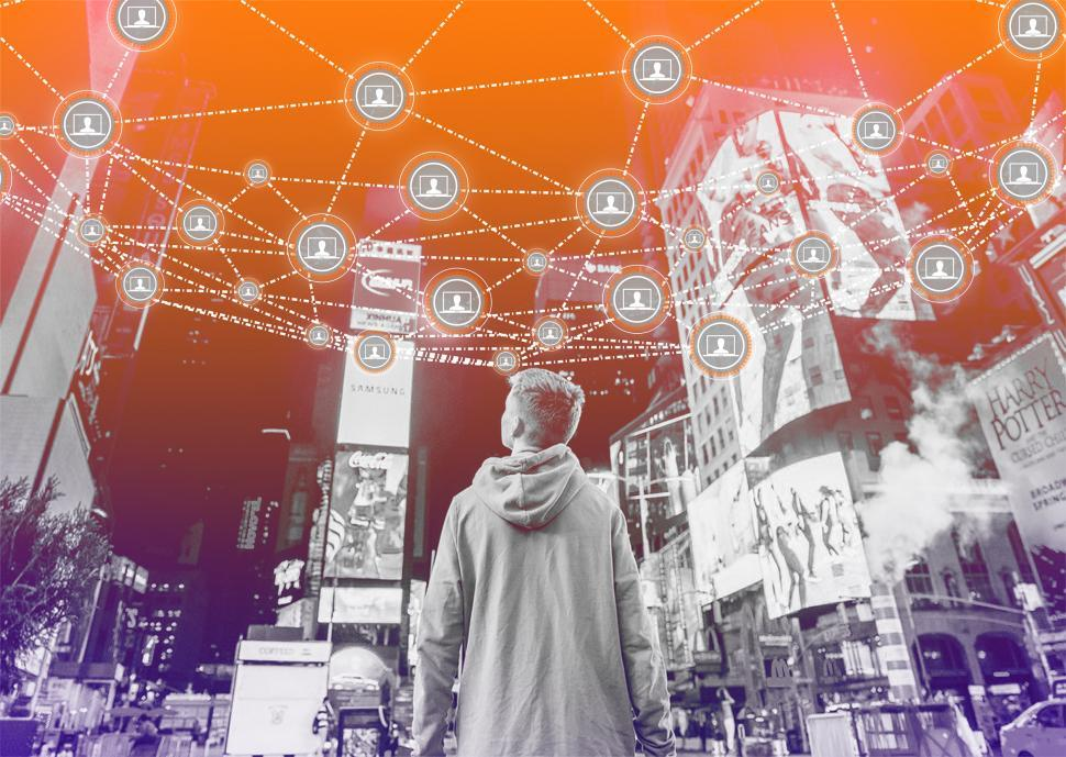 Get Free Stock Photo of Block Chain Network Concept Over Cityscape