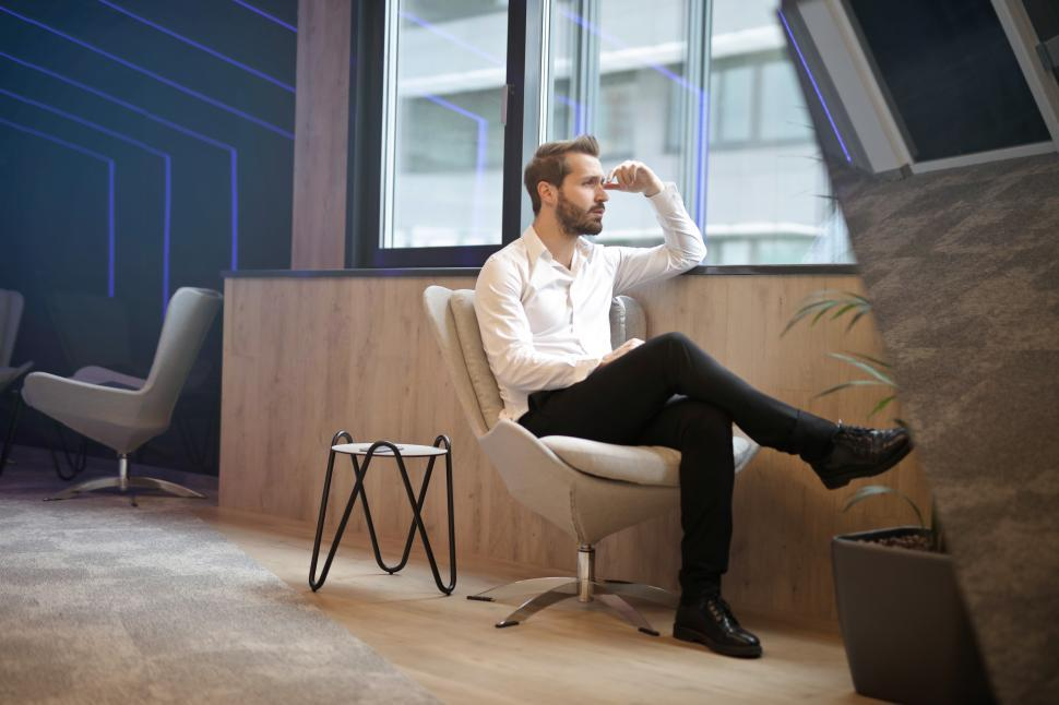 Get Free Stock Photos Of Young Adult Man Sitting On Office