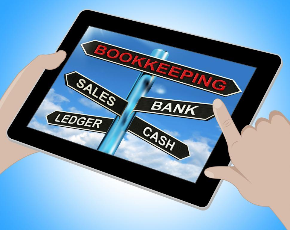 Get Free Stock Photos of Bookkeeping Tablet Means Sales Ledger Bank