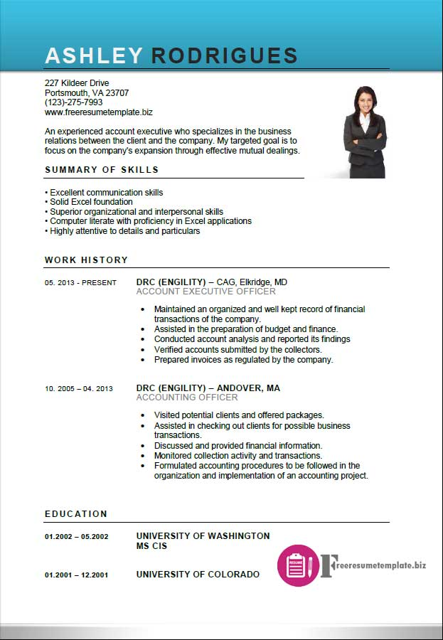 Cv Sample Account Executive Resume Template ⋆ Free Resume