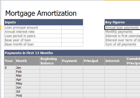 mortgage amortization spreadsheet. Black Bedroom Furniture Sets. Home Design Ideas