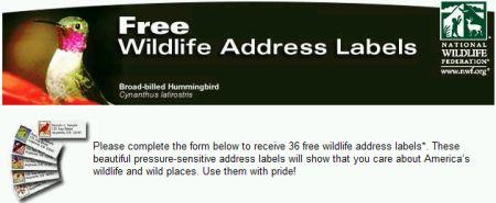 National Wildlife Federation 36 Free Wildlife Address Labels - US