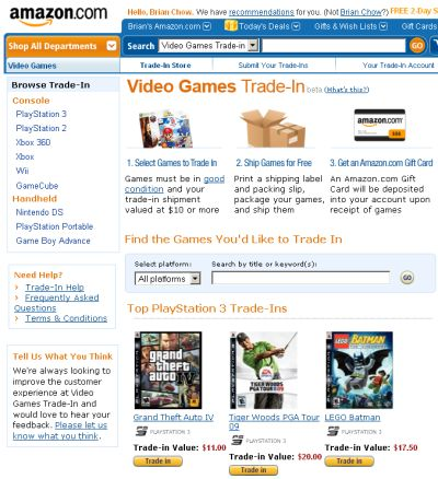 Amazon.com Earn Amazon Gift Card for Trading in Your Video Games - US