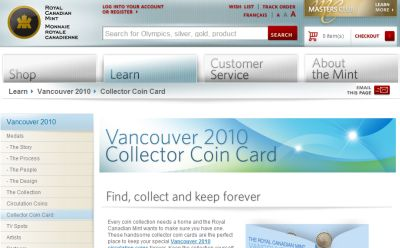 Royal Canadian Mint Free Vancouver 2010 Circulation Coin Card - Canada