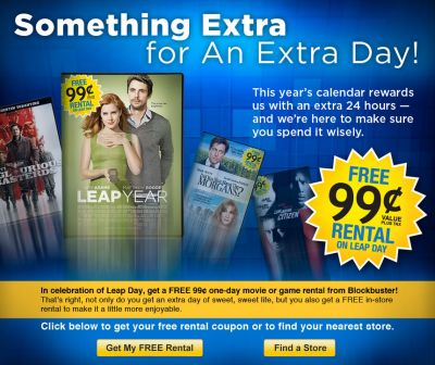 Blockbuster Free 99 Cents One-Day Movie or Game Rental