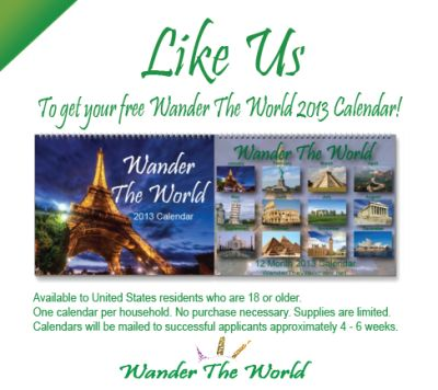 Wander The Offers Free Wander the World 2013 Calendar via Facebook - US