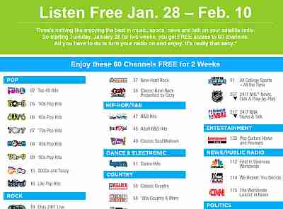 SiriusXm Satellite Radio Free Access to 60 Channels from January 28 to February 10, 2014