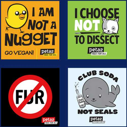 PETA2 Free for All Free Stickers - Canada, UK and US