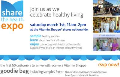 The Vitamin Shoppe Free Goodie Bag for First 50 Customers at Each Store's Share The Health Expo on March 1, 2014 from 11 a.m. to 2 p.m.