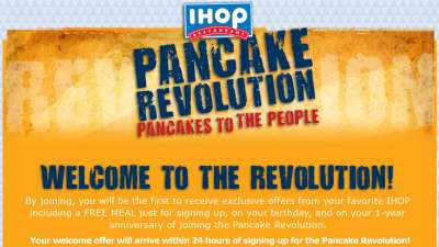 IHOP Pancake Revolution Free Meal on Your Birthday and on Your 1-Year Anniversary of Joining - US