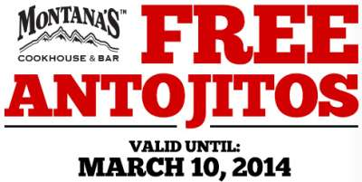 Montana's Cookhouse & Bar Free Printable Antojitos Coupon - Exp. March 10, 2014, Canada