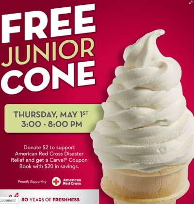 Carvel Ice Cream Free Junior Cone from 3:00 p.m. to 8:00 p.m. on May 1, 2014