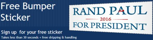 Rand Paul for President Free 2016 Bumper Sticker - US