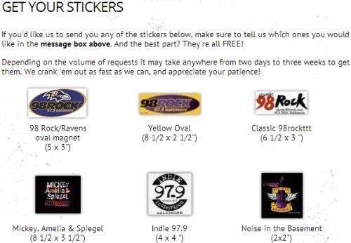98 Rock 97.9 Baltimore Free Bumper Sticker - US