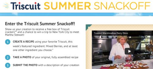 Triscuit Summer Snackoff Free Box of Triscuit Crackers for Entering the Summer Challenge - First 5,000 Eligible Entrants for Each Contest Challenge
