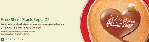 Perkins Restaurant & Bakery Free Short Stack of Pancakes on September 25, 2014