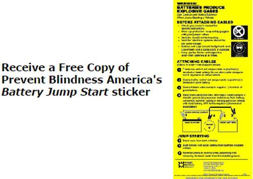 Prevent Blindness Free Battery Jump Start Sticker - US