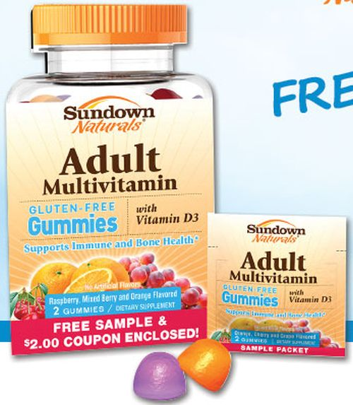 Sundown Naturals Free Adult Gummy Multivitamin Sample Pack and $2 Coupon via Facebook - US