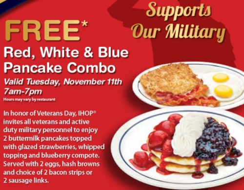 IHOP Restaurant Free Red, White & Blue Pancake Combo for Veterans and Active Duty Military Personnel - November 11, 2014