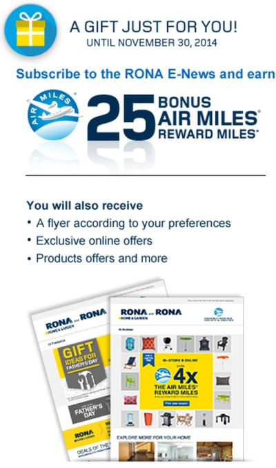 RONA Free 25 Bonus Air Miles Reward Miles for E-News - Canada