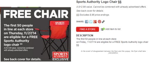 Sports Authority Free Chair to the First 50 People on November 27, 2014