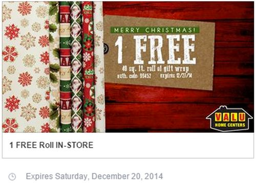 Valu Home Centers Free Roll of Gift Wrap via Facebook - Exp. December 20, 2014