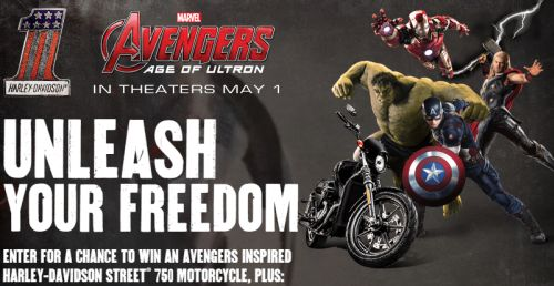Harley-Davidson Free Limited Edition Marvel Avengers Sticker and Enter to Win an Avengers Inspired Harley-Davidson Street 750 Motorcycle - Ages 18+, US