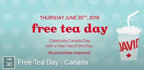 DAVIDsTEA Free Tea Day Canada US